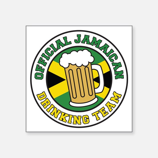 "Jamaican Drinking Team Glas Square Sticker 3"" x 3"""