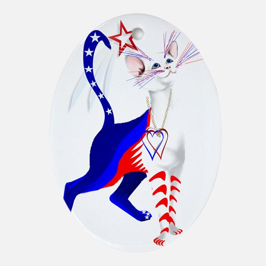 An American Cat Oval Ornament