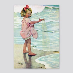Child at the beach 5'x7'Area Rug