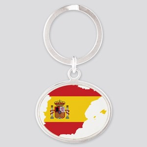 Flag Map of Spain Oval Keychain