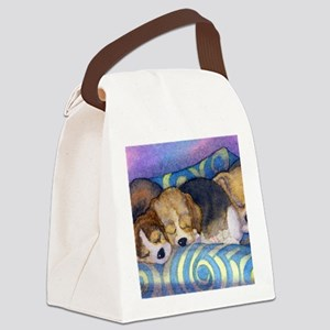 Beagle puppies asleep on the sofa Canvas Lunch Bag