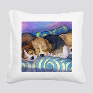 Beagle puppies asleep on the  Square Canvas Pillow