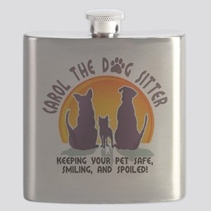 Carol The Dog Sitter with Tag Line Flask