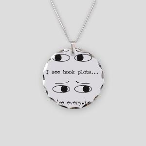 I see book plots... (black) Necklace Circle Charm