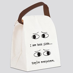 I see book plots... (black) Canvas Lunch Bag