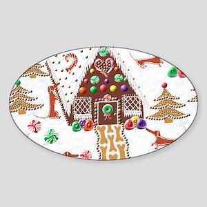 Gingerbread Dachshunds Balloon Sticker (Oval)