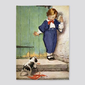A Childs Book - puppy negotiation 5'x7'Area Rug