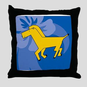 Horse Wine Label Throw Pillow