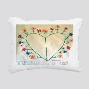 Embroidered Heart and Fl Rectangular Canvas Pillow