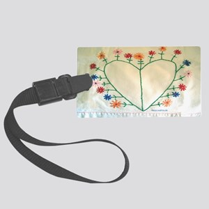 Embroidered Heart and Flowers Sh Large Luggage Tag