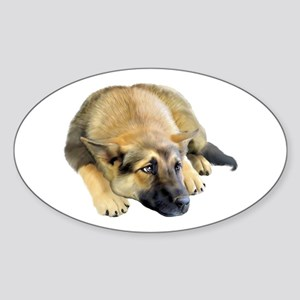 German Shepherd Dog Pup Oval Sticker