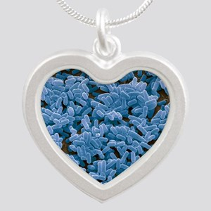 Bacillus subtilis bacteria,  Silver Heart Necklace