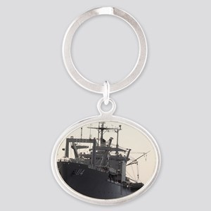 uss durham rectangle magnet Oval Keychain