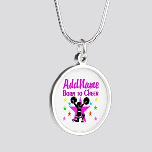 BORN TO CHEER Silver Round Necklace