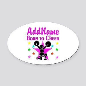 BORN TO CHEER Oval Car Magnet