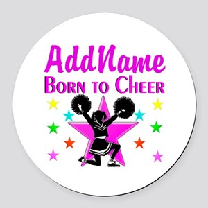 BORN TO CHEER Round Car Magnet