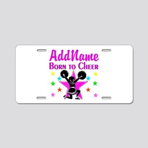 BORN TO CHEER Aluminum License Plate