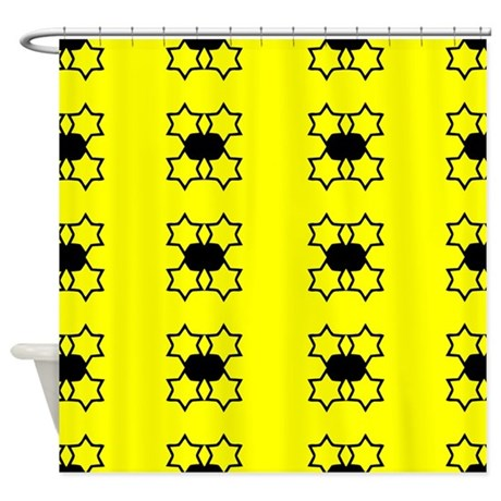 yellow and black star pattern shower curtain by colorfulpatterns. Black Bedroom Furniture Sets. Home Design Ideas