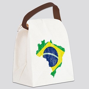 Brazil Flag and Map Aged Canvas Lunch Bag
