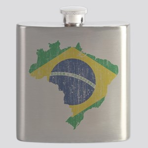 Brazil Flag and Map Aged Flask