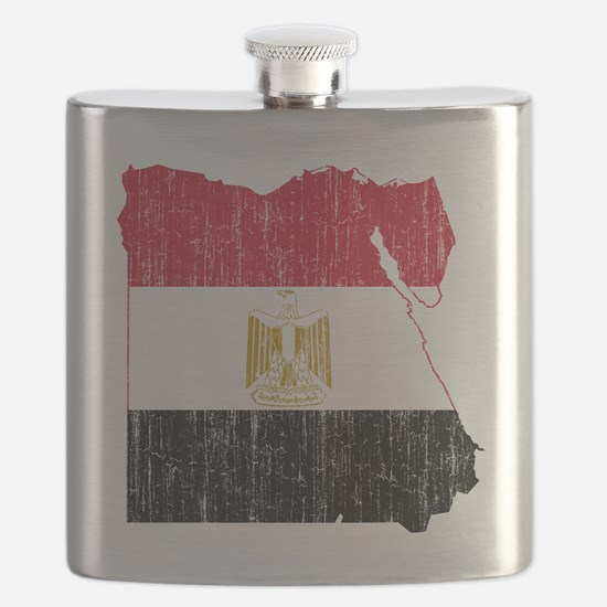 Egypt Flag and Map Aged Flask