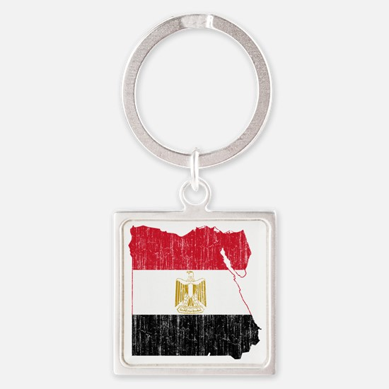 Egypt Flag and Map Aged Square Keychain