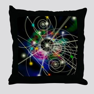 Art of particle tracks Throw Pillow