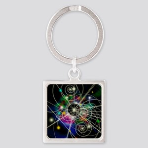 Art of particle tracks Square Keychain