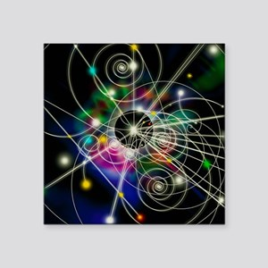 """Art of particle tracks Square Sticker 3"""" x 3"""""""
