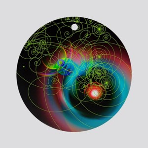 Art of particle tracks Round Ornament
