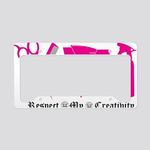 Hair Stylist Pink Tools of th License Plate Holder