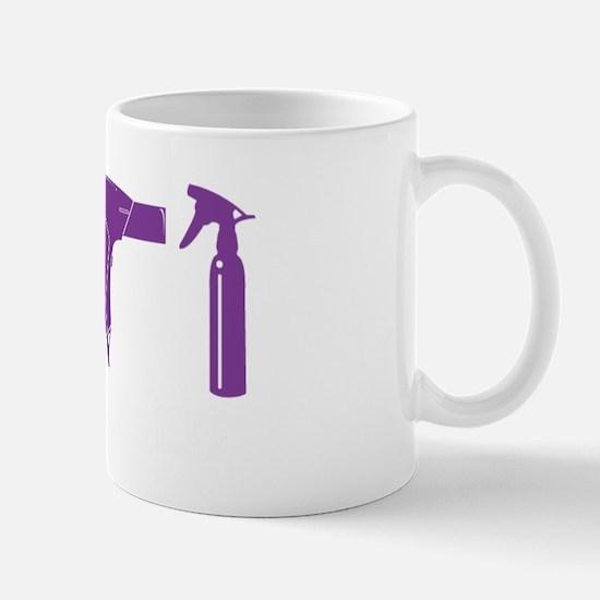Hair Stylist Purple Tools Black Shirt Mug
