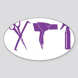 Hair Stylist Purple Tools Black Shi Sticker (Oval)