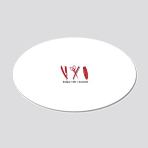 Barber Red Tools of the Trad 20x12 Oval Wall Decal