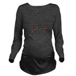 Copper Chinese Peace Long Sleeve Maternity T-Shirt