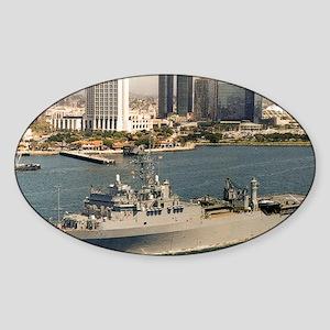 uss fort fisher framed panel print Sticker (Oval)