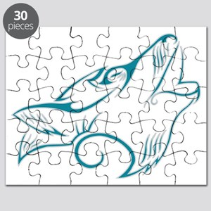 Turquoise Howling Wolf Tribal Tattoo Puzzle