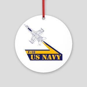 US NAVY Hornet F-18 Round Ornament