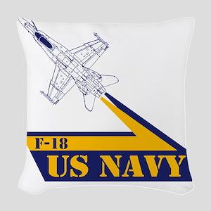 US NAVY Hornet F-18 Woven Throw Pillow