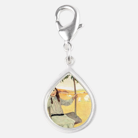 A Childs Book - swinger Silver Teardrop Charm