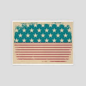 Faded Old Glory Grunge American Fla 5'x7'Area Rug