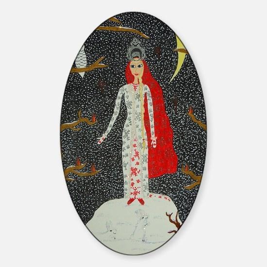 Snow Maiden (Red Version) Balloon Sticker (Oval)