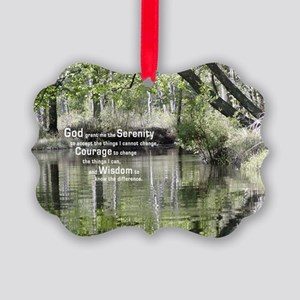 Serenity Prayer over the Wading R Picture Ornament