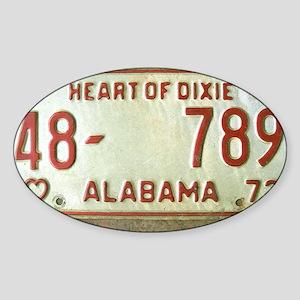 Heart of Dixie Alabama Car Tag Shou Sticker (Oval)