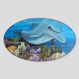 Dolphine face  8x10 Sticker (Oval)