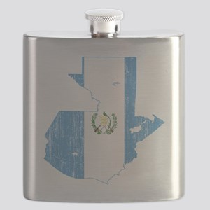Guaemala Flag and Map Aged Flask