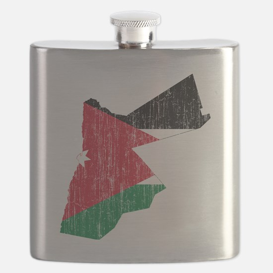 Jordan Flag and Map Aged Flask