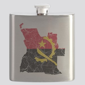 Angola Flag and Map Cracked Flask