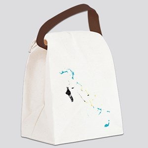 Bahamas Flag and Map Cracked Canvas Lunch Bag