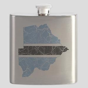 Botswana Flag and Map Cracked Flask